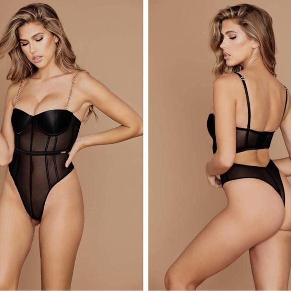 07283853b19cf Meshki Intimates & Sleepwear | Talisa Chain Strap Bodysuit Brand New ...